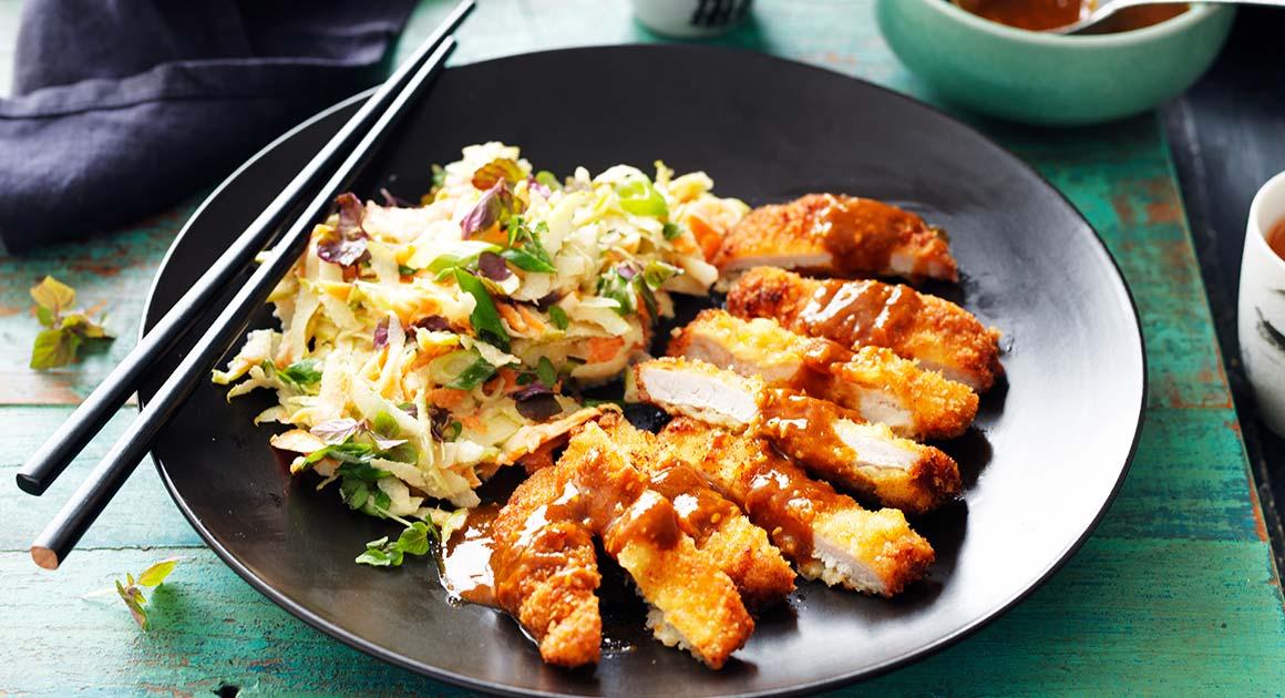 Katsu Pork With Pear & Carrot Slaw