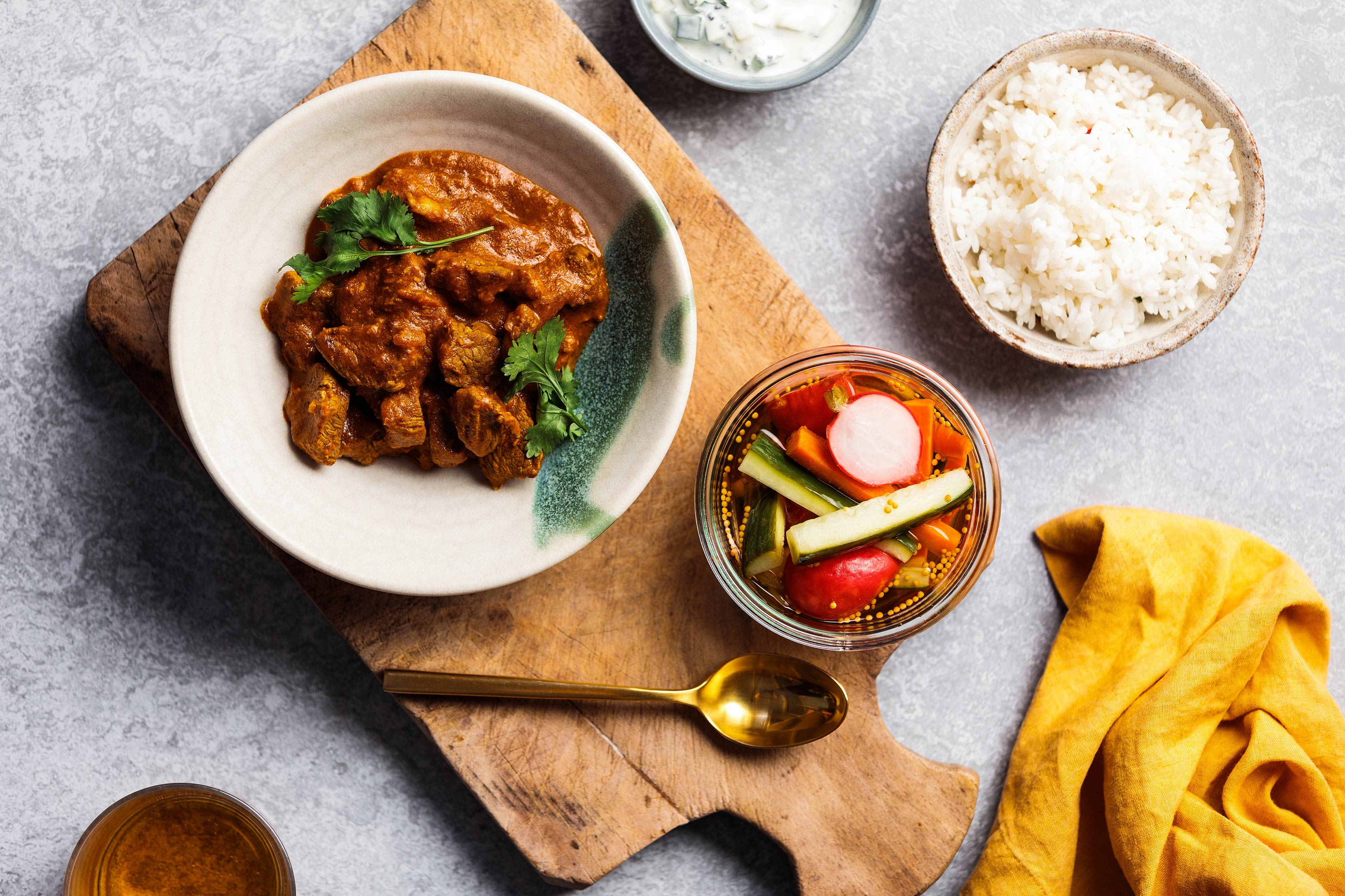Rogan Josh with Pickled Cucumber and Vegetables
