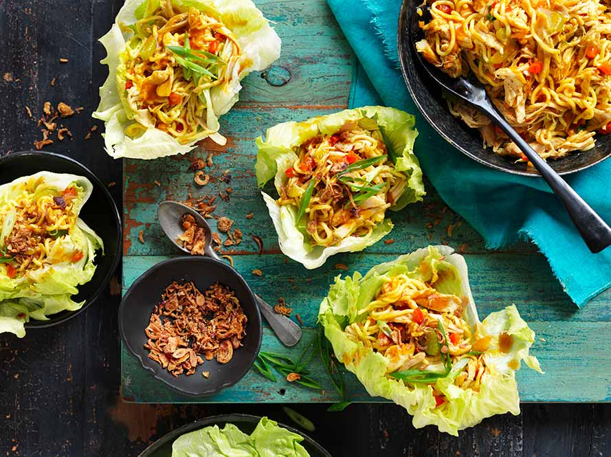 Singapore Noodle and Chicken Lettuce Cups