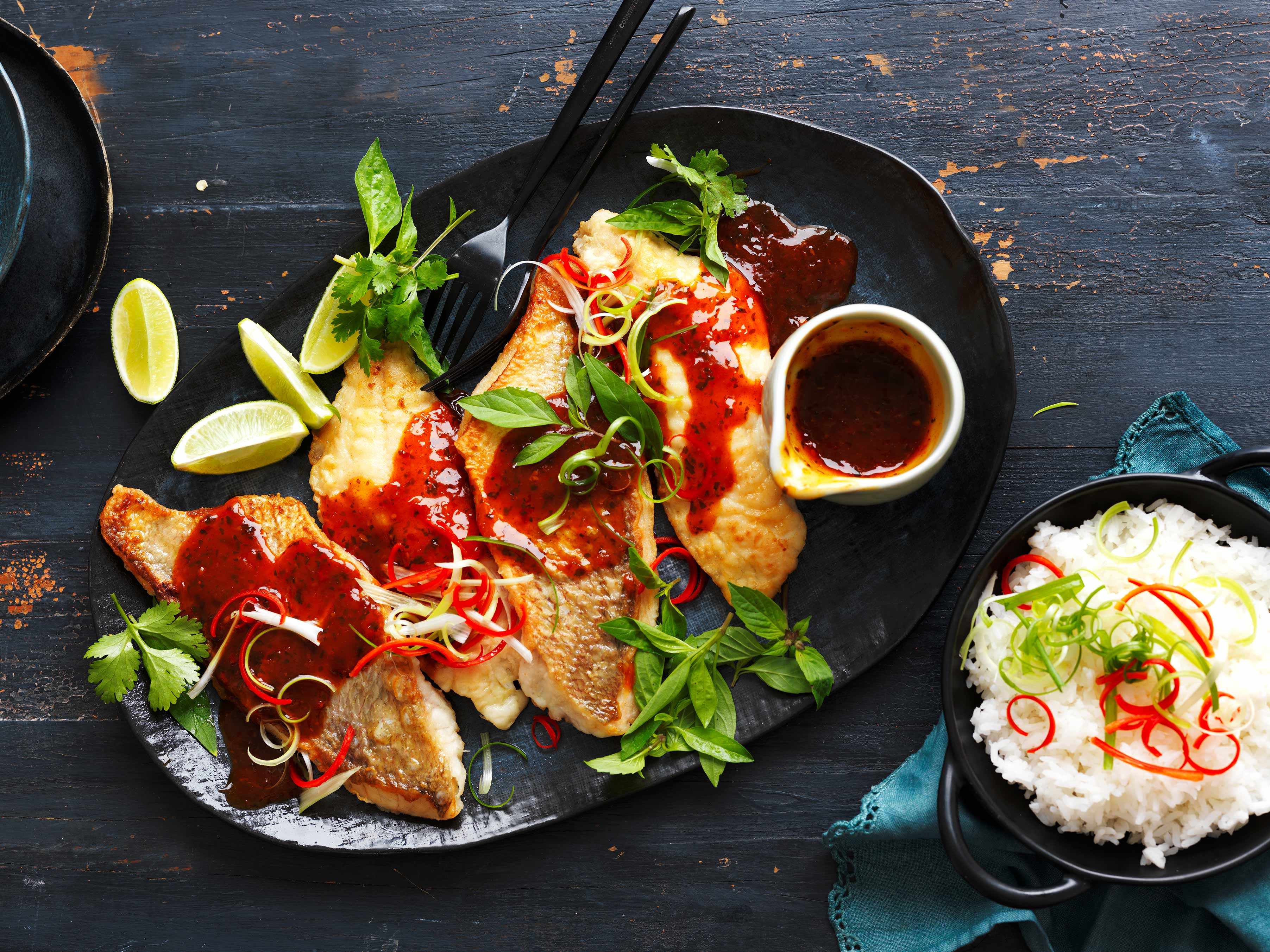White Fish Fillets with Tamarind, Lime and Chilli Sauce