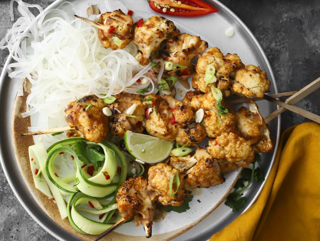 Satay Cauliflower Skewers