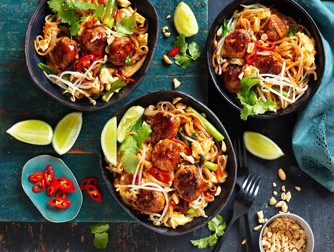 Turkey Meatball Pad Thai