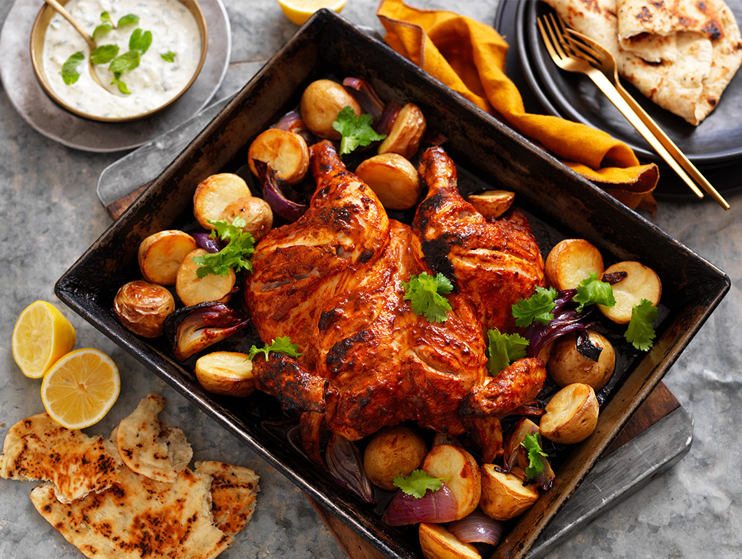 Butterflied Tandoori Chicken with Potatoes
