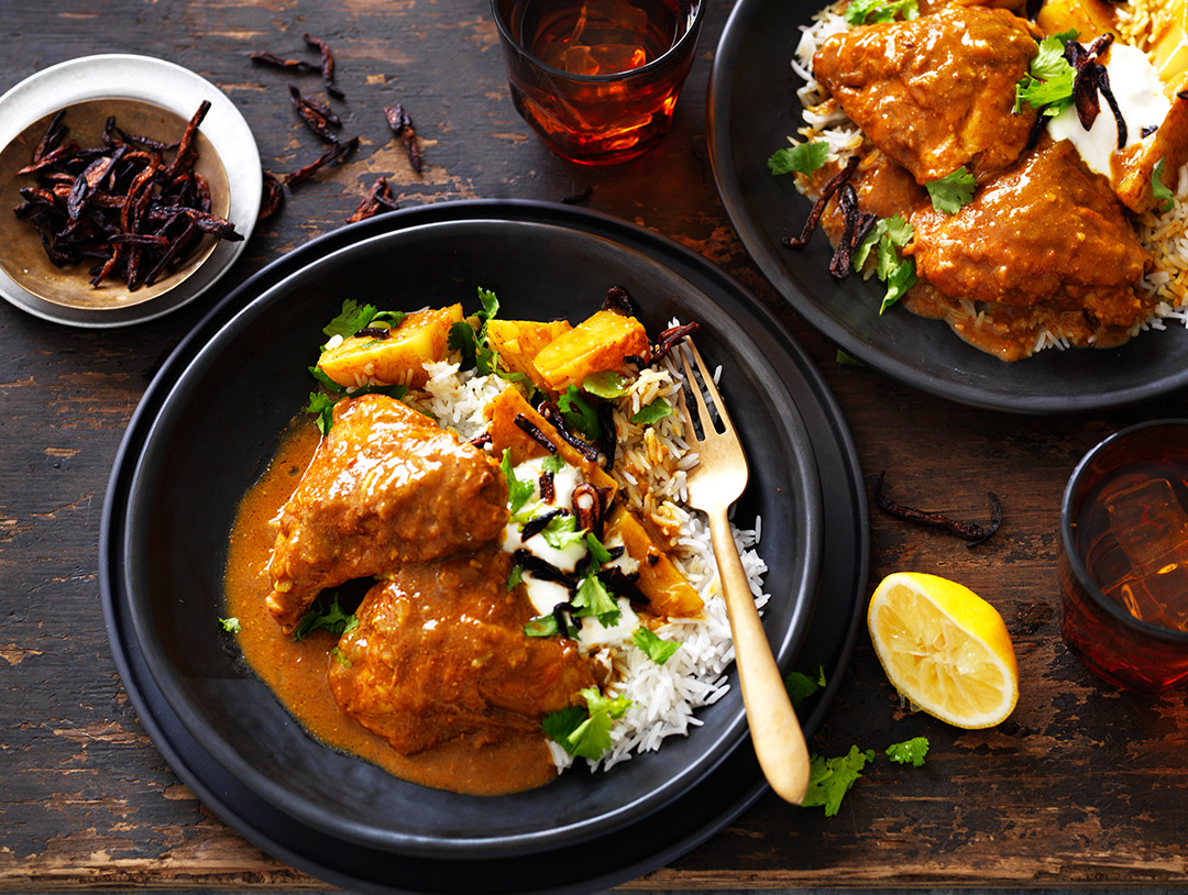 Slow Cooked Punjabi Chicken Curry with Crispy Onion